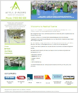 Applied Resins Website, Northamptonshire